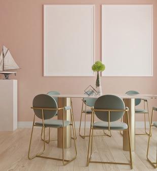 Sala de jantar de luxo moderno com mock up moldura de cartaz