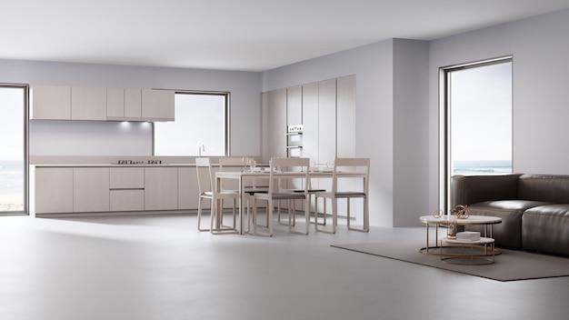 Sala de jantar e estar em casa de praia luxuosa com design moderno