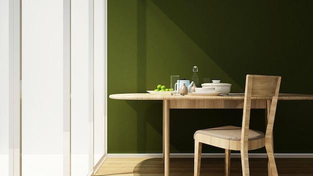 Sala de jantar e parede verde em casa ou apartamento 3d