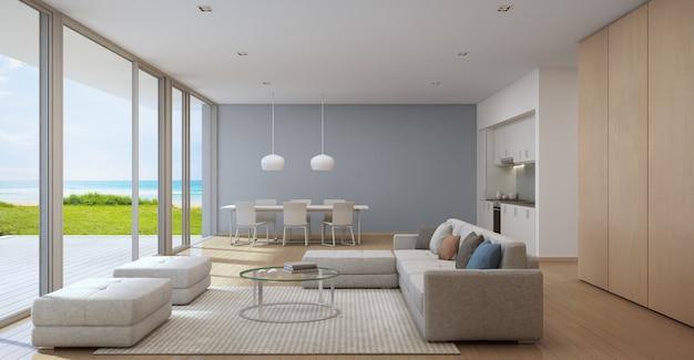 Sala de jantar e sala de estar da casa de praia de luxo em design moderno