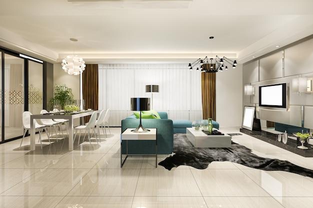 Sala de jantar e sala de estar modernas com decoração luxuosa