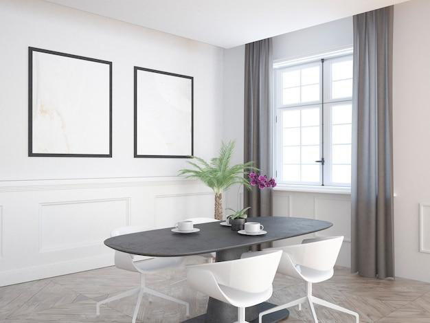Sala de jantar elegante e elegante com cortinas cinza