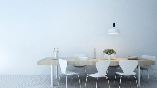 Sala de jantar em casa ou apartamento - renderização em 3d
