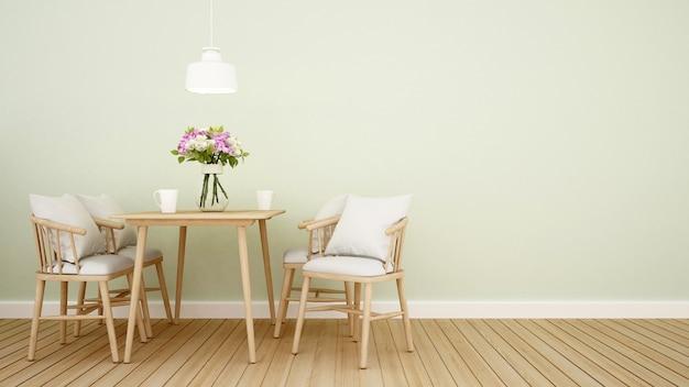 Sala de jantar em casa ou restaurante.