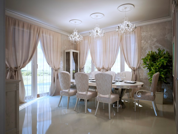 Sala de jantar em design vanguardista