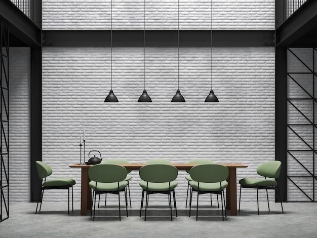 Sala de jantar em estilo loft industrial renderização 3d. há parede de tijolo branco, piso de concreto polido e estrutura de aço preto. mobiliada com cadeira de tecido verde e mesa de madeira.