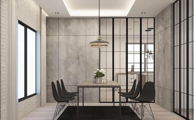 Sala de jantar em estilo loft moderno em casa com concreto e textura de madeira com conjunto de sofás