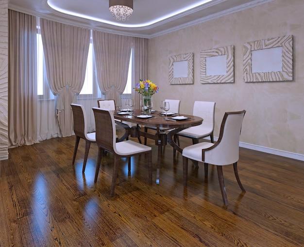 Sala de jantar em estilo moderno. cortinas de armário, luzes de néon, paredes de cor creme. mesa marrom e cadeiras brancas. luz do dia. renderização 3d