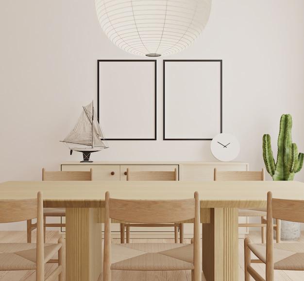 Sala de jantar escandinava com mock-se quadro de pôster