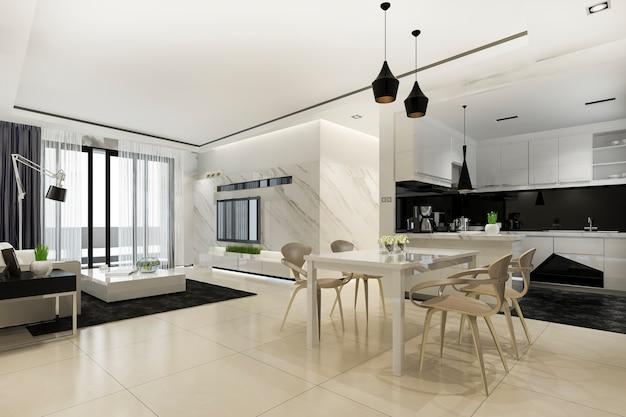 Sala de jantar escandinava e cozinha com sala de estar com decoração luxuosa