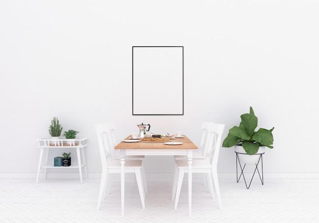 Sala de jantar escandinava - moldura vertical