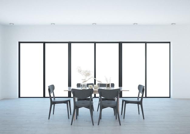 Sala de jantar espaçosa com janela panorâmica