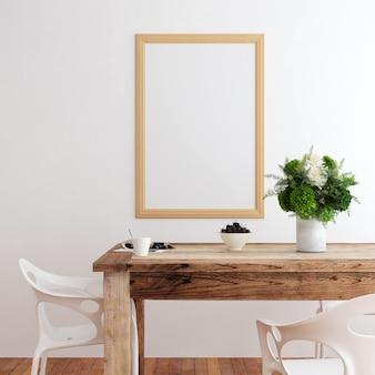 Sala de jantar interior da maquete do quadro