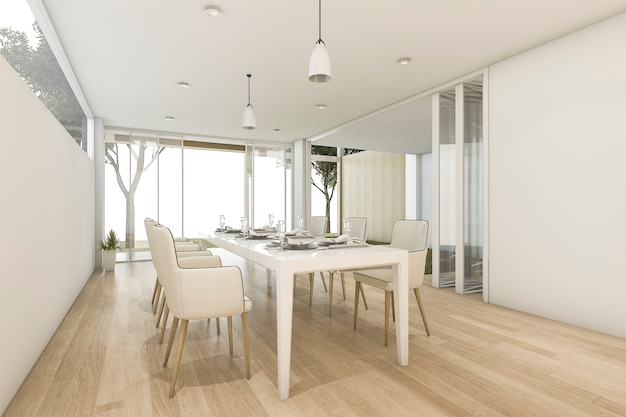 Sala de jantar mínima branca da rendição 3d com vista exterior