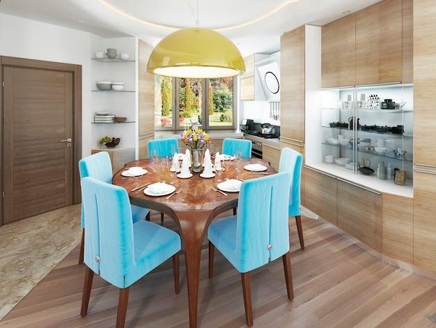 Sala de jantar moderna com cozinha em estilo kitsch da moda