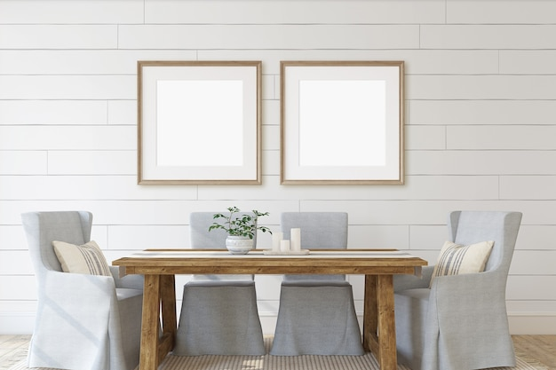 Sala de jantar moderna com dois caixilhos quadrados na parede. maquete do interior e do quadro. renderização 3d.