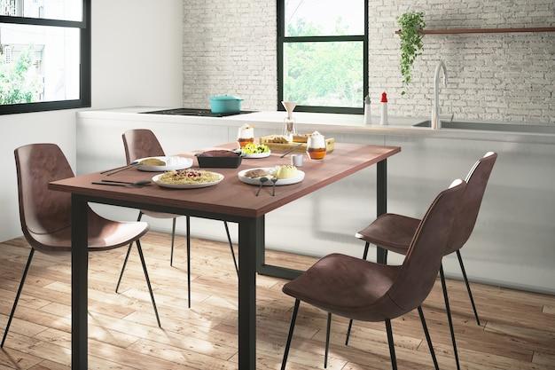 Sala de jantar moderna cozinha