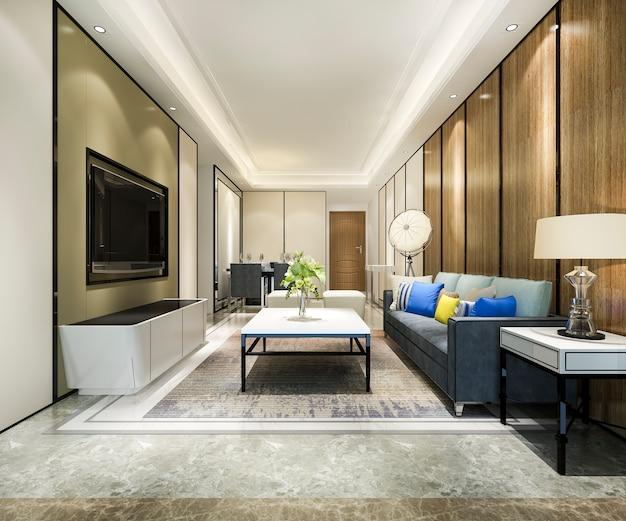 Sala de jantar moderna e cozinha com sala de estar com decoração luxuosa