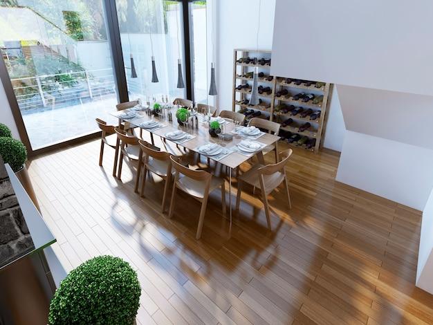 Sala de jantar moderna e luminosa com design contemporâneo.