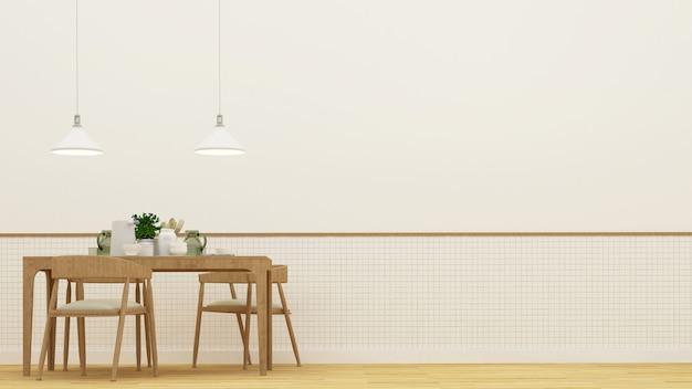 Sala de jantar ou restaurante - renderização em 3d