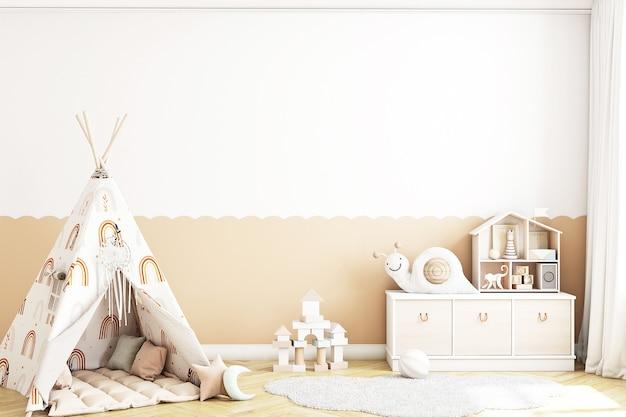 Sala de jogos de maquete de parede em branco no estilo boh