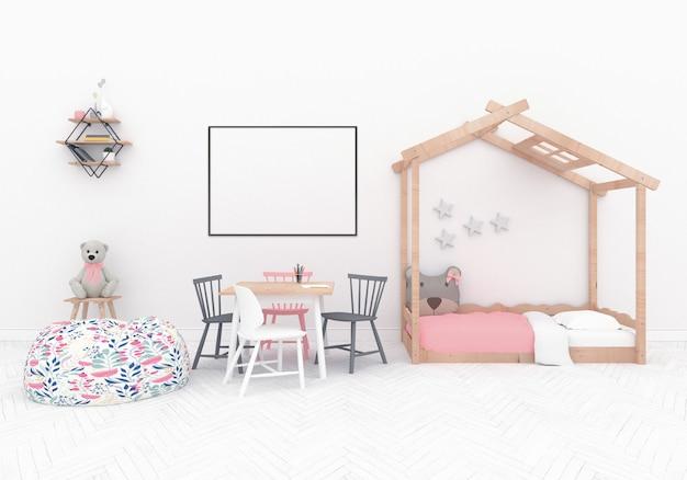 Sala de jogos escandinavos com quadro hroizontal