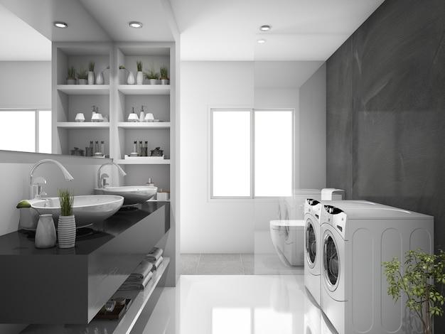 Sala de lavagem e wc moderno preto de renderização 3d