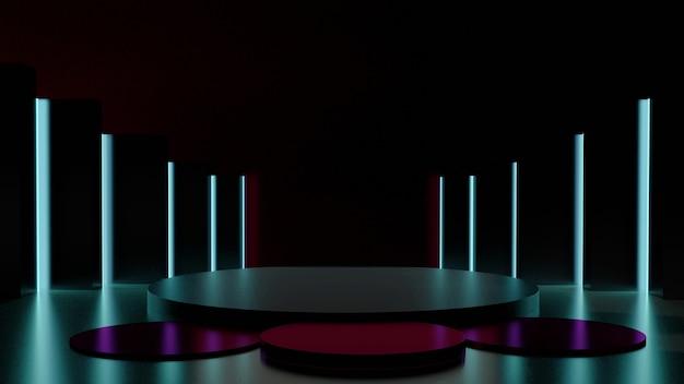 Sala de luzes de néon verdes com fundo escuro e display de palco 3drendering