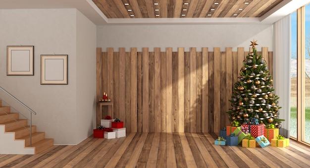Sala de madeira com árvore de natal