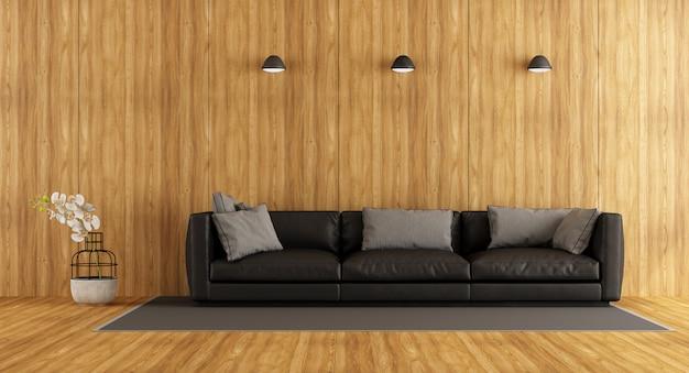 Sala de madeira com sofá contra a parede de madeira