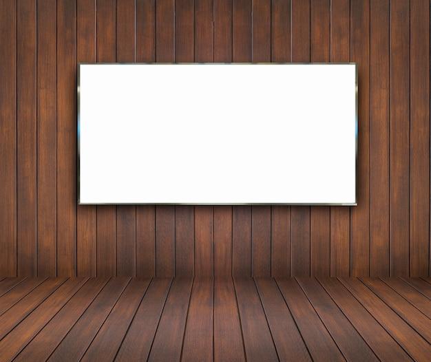 Sala de madeira e parede de fundo com placa de bill