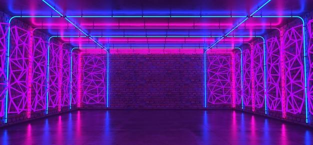Sala de néon 3d, parede de tijolos, piso de concreto, tubos de luz de néon brilhante, painéis geométricos, plano de fundo