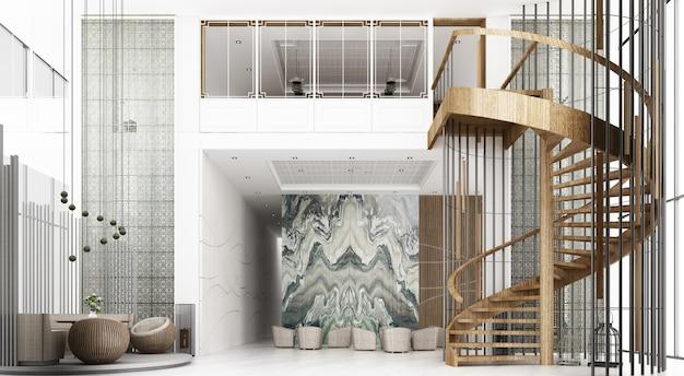 Sala de recepção no hotel o teto é alto com vista de mezanino e escada em espiral, há uma área de espera. decore o estilo chinês e padrão usando materiais de madeira e mármore. renderização 3d