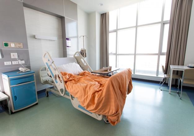 Sala de recuperação com camas e confortáveis médicos. interior de um quarto de hospital vazio. quarto limpo e vazio com uma cama no novo centro médico