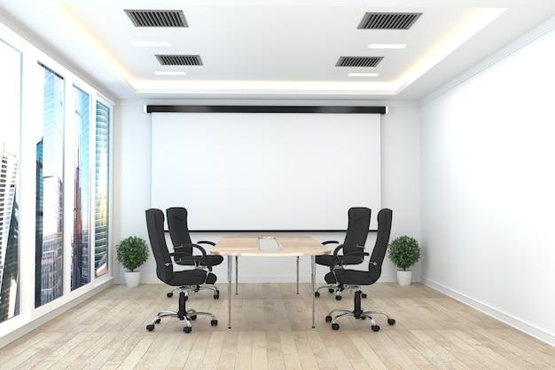 Sala de reunião bonita da sala de reuniões e tabela de conferência, estilo moderno. renderização 3d