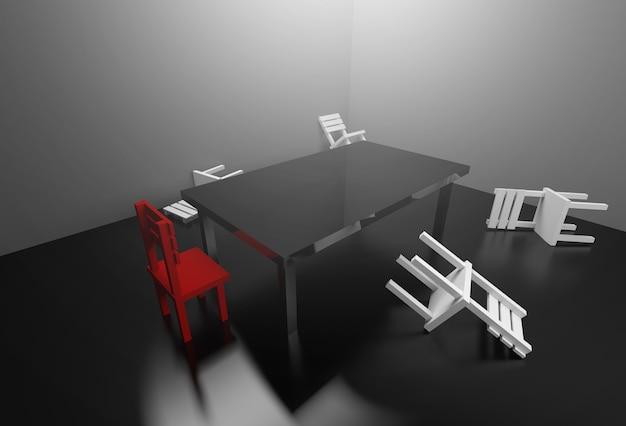 Sala de reunião da rendição 3d que controla o conflito no conceito das reuniões.