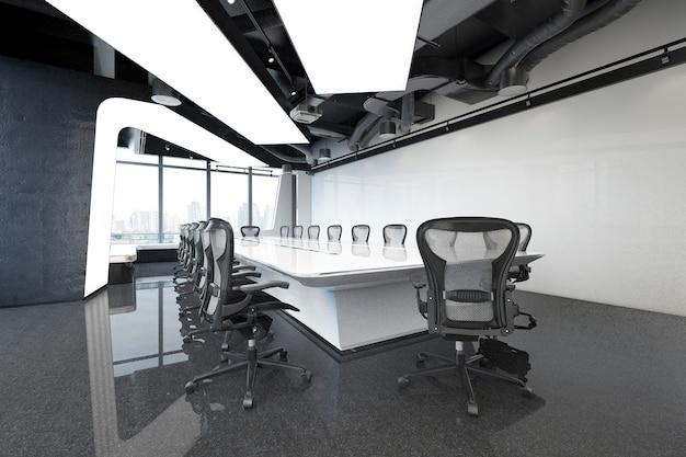 Sala de reunião de negócios de renderização 3d no prédio de escritórios altos