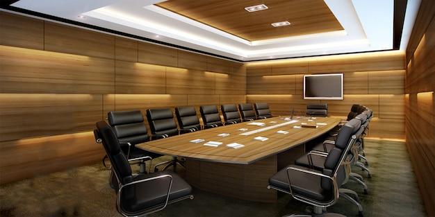Sala de reunião de negócios de renderização 3d no prédio de escritórios de arranha-céus