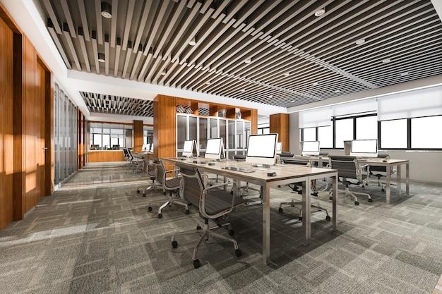 Sala de reunião de negócios de renderização 3d no prédio de escritórios