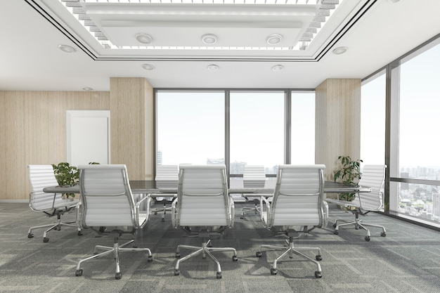 Sala de reunião de renderização 3d no prédio de escritórios
