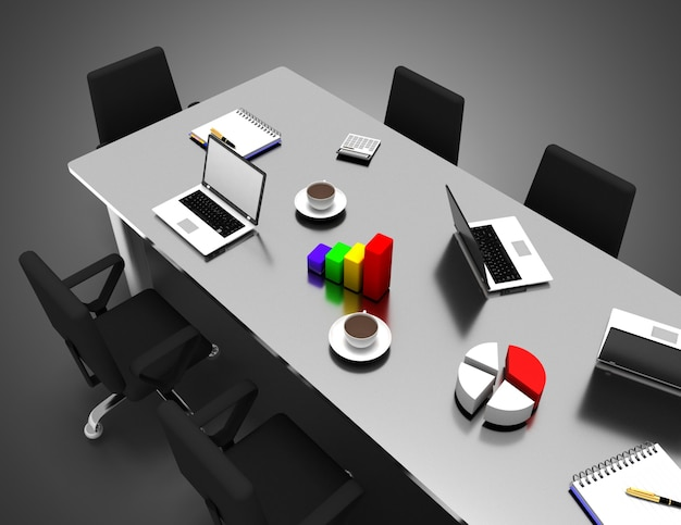 Sala de reuniões do escritório 3d. ilustração 3d