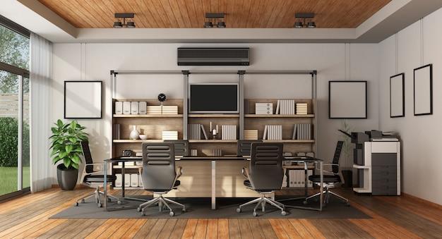 Sala de reuniões moderna com mesa de reunião