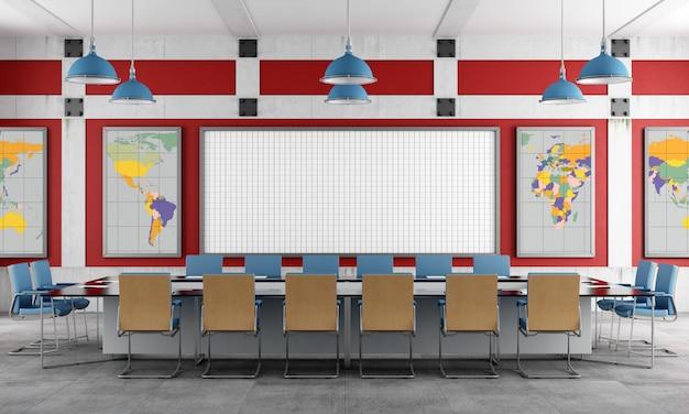 Sala de reuniões vermelha e azul