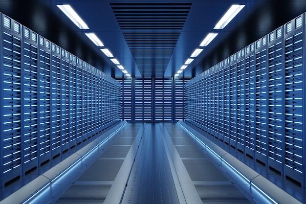 Sala de servidores com luzes azuis