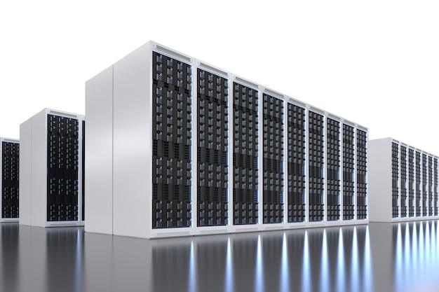 Sala de servidores de renderização 3d ou data center