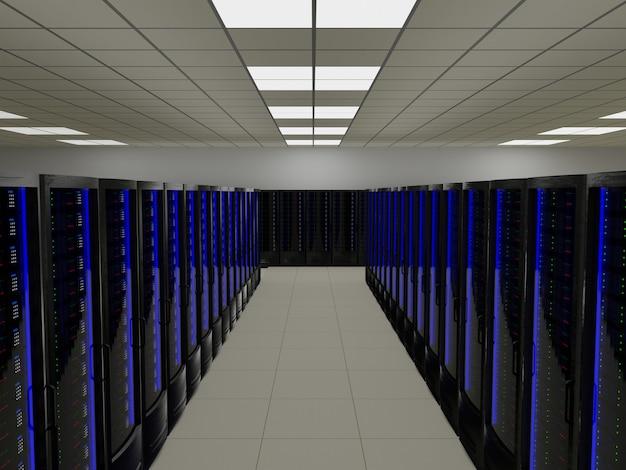 Sala de servidores moderna e futurista com grande data center