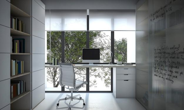 Sala de trabalho de renderização 3d com estante de livros e luz do dia