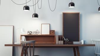 Sala de trabalho e escritório moderno interior / renderização 3D