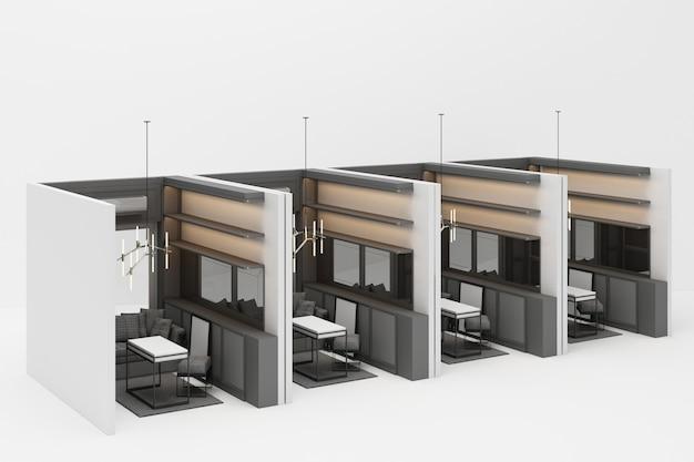 Sala de trabalho em estilo clássico moderno com tom de móveis cinza em branco renderização em 3d