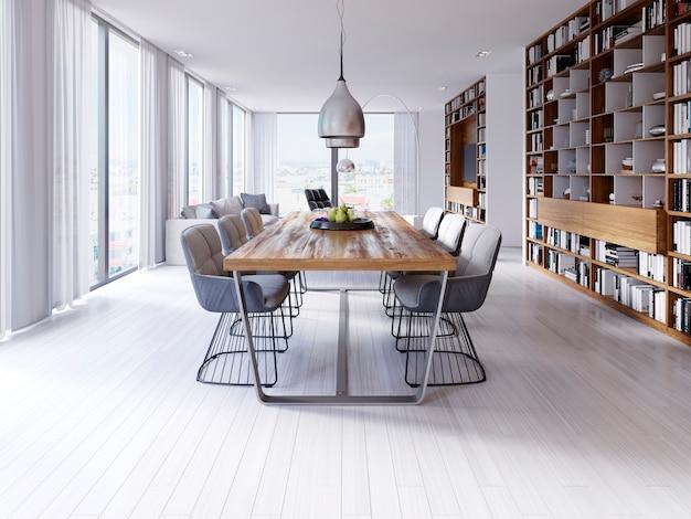 Sala de treinamento com mesas redondas e mobília marrom. renderização 3d